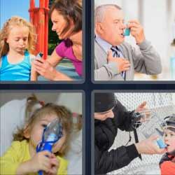 4 fotos 1 palabra niña con respirador hombre con asma