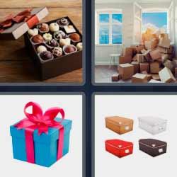 4 fotos 1 palabra caja de bombones
