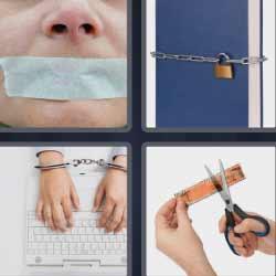 4 fotos 1 palabra tijeras esposas cadena candado