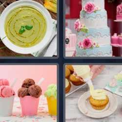 4 fotos 1 palabra tarta helados