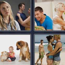 4 fotos 1 palabra niño con perros pareja en la playa