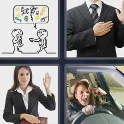 4 fotos 1 palabra mujer al volante enfadada
