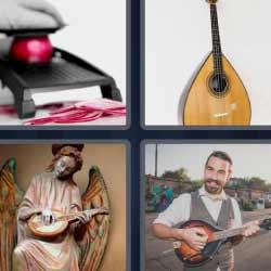 4 fotos 1 palabra instrumento de música parecido a una guitarra