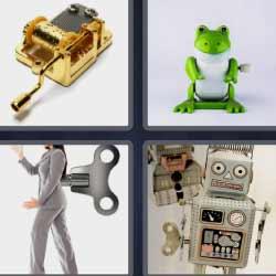 4 fotos 1 palabra rana verde robot mujer instrumento de cuerda