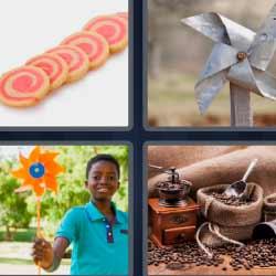 4 fotos 1 palabra molinillo de viento pastel a rodajas