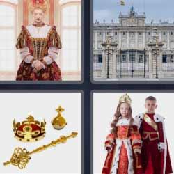 4 fotos 1 palabra reina palacio niños con trajes de reyes
