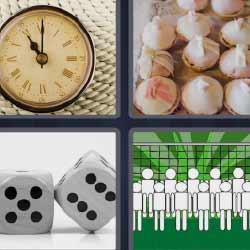 4 fotos 1 palabra reloj antiguo dados ajos