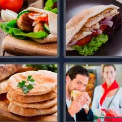 4 fotos 1 palabra kebab bocadillo comida