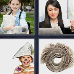 4 fotos 1 palabra niña con periódicos, mujer leyendo