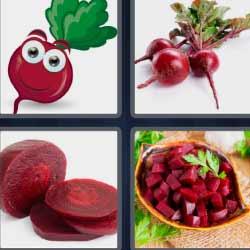 4 fotos 1 palabra rábano o fruta roja