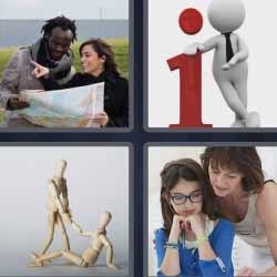 4 fotos 1 palabra i de información roja mapa
