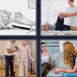 4 fotos 1 palabra hombre en una camilla anciana con fisioterapeuta