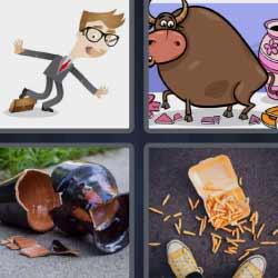 4 fotos 1 palabra toro jarrón roto