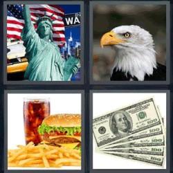 4 fotos 1 palabra águila dólar