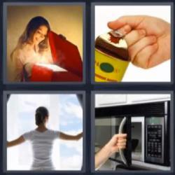 4 fotos 1 palabra caja microondas