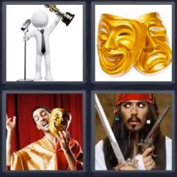 4 fotos 1 palabra máscaras teatro