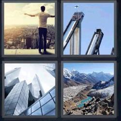4 fotos 1 palabra rascacielos, edificios, paisaje con montañas