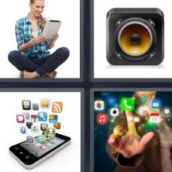 4 fotos 1 palabra mujer con tablet cámara