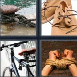 4 fotos 1 palabra muelle, zapatos con cordones, bicicleta
