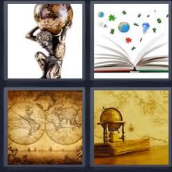 4 fotos 1 palabra bola del mundo libro abierto