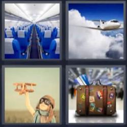 4 fotos 1 palabra avión niño maleta