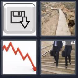 4 fotos 1 palabra bajando escaleras