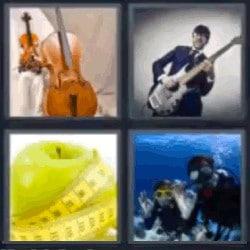 4 fotos 1 palabra violín, músico, manzana, submarinistas