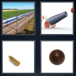 4 fotos 1 palabra tren, cañón, bala de cañón