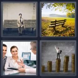 4 fotos 1 palabra hombre sentado banco