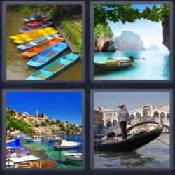 4 fotos 1 palabra barcas colores