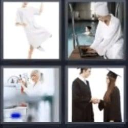 4 fotos 1 palabra mujer con albornoz, universitarios
