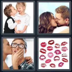 4 fotos 1 palabra besos, niño besando a niña, pintura de labios