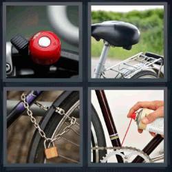 4 fotos 1 palabra bicicleta sillín de bici, timbre cadena