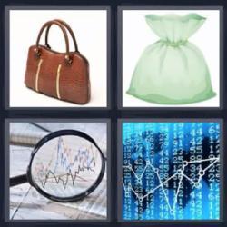 4 fotos 1 palabra bolso lupa gráfico
