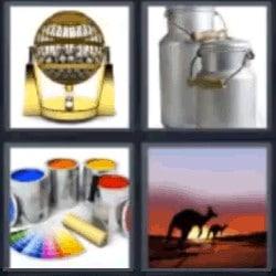 4 fotos 1 palabra bombo de lotería, pintura, botes, canguros