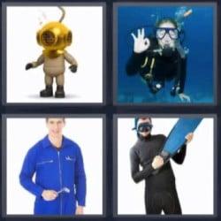 4 fotos 1 palabra submarinista, buzo, hombre con mono azul