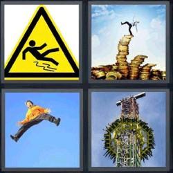 4 fotos 1 palabra señal amarilla, persona sobre monedas