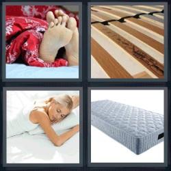 4 fotos 1 palabra colchón, mujer durmiendo, somier