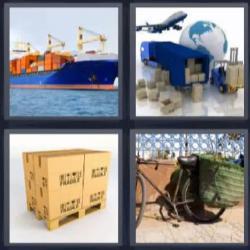 4 fotos 1 palabra barco contenedores