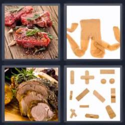 4 fotos 1 palabra tiritas o curitas medias