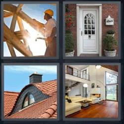 4 fotos 1 palabra puerta de casa, tejado, salón