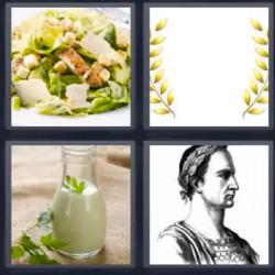 4 fotos 1 palabra ensalada leche
