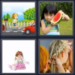 4 fotos 1 palabra niña sandía