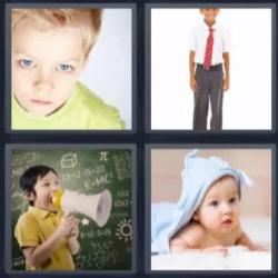 4 fotos 1 palabra niño megáfono