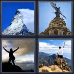 4 fotos 1 palabra mujer con brazos levantados, montaña estatua