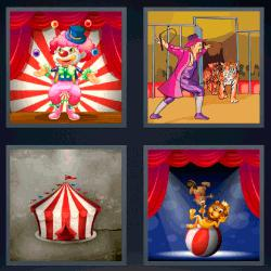 4 fotos 1 palabra payasos circo