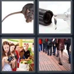 4 fotos 1 palabra ratón pegamento personas supermercado