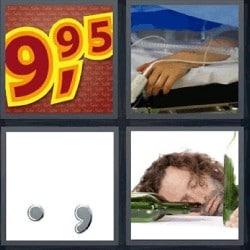 4 fotos 1 palabra precio 9,95, hombre borracho
