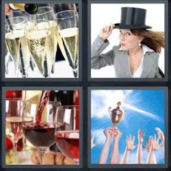 4 fotos 1 palabra copas de champán vino mujer con sombrero