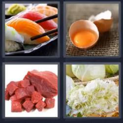 4 fotos 1 palabra carne huevo